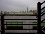 Empire State Building from Pulaski Bridge on a rainy day.